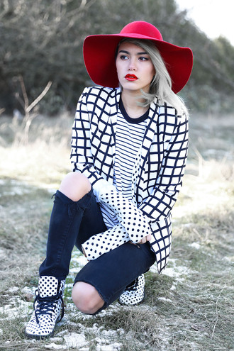 xander vintage blogger jacket felt hat checkered stripes polka dots black jeans red lipstick red