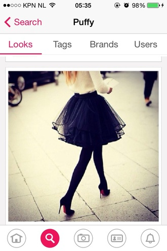 skirt black poofy tulle skirt