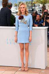 dress,mini dress,diane kruger,sandals,blue,light blue,blue dress,roses,embroidered dress,cannes