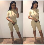 jumpsuit,one piece,outfit,outfit idea,summer outfits,spring outfits,cute outfits,date outfit,party outfits,sexy shoes,shoes,cute high heels,india westbrooks,high heels,5 inch and up,gold chain,chain,jewelry,accessories,sunglasses,summer accessories