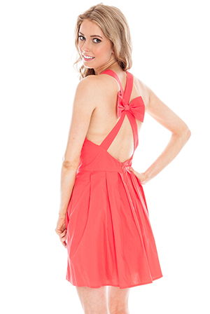 Cross Back Pinafore Dress with Bow Detail