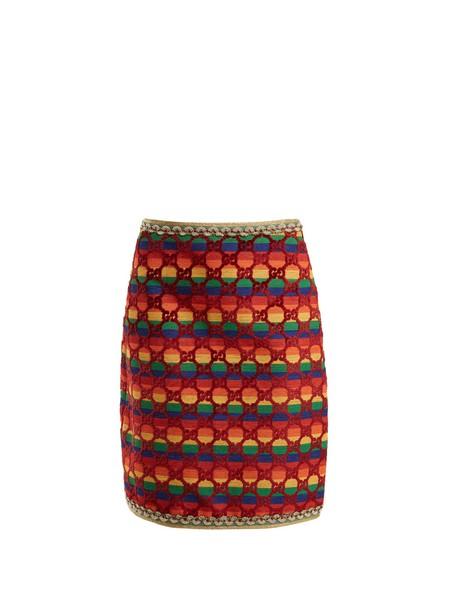 gucci skirt velvet skirt jacquard velvet