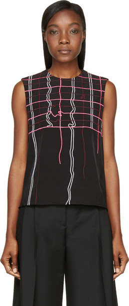 top plaid embroidered neon black