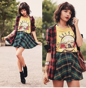 t-shirt yellow green red plaid skirt guns and roses grunge black blouse sunglasses shoes jewels bag yellow t-shirt mini skirt plaid skirt tartan boots black boots