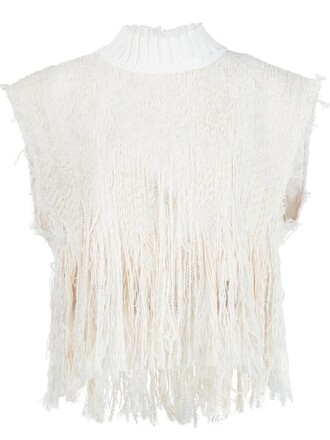 top fringed top women white cotton