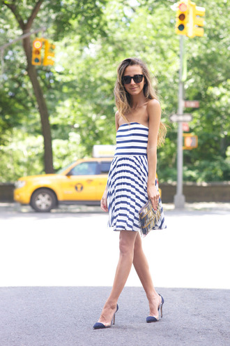 something navy blogger bustier dress sundress striped dress
