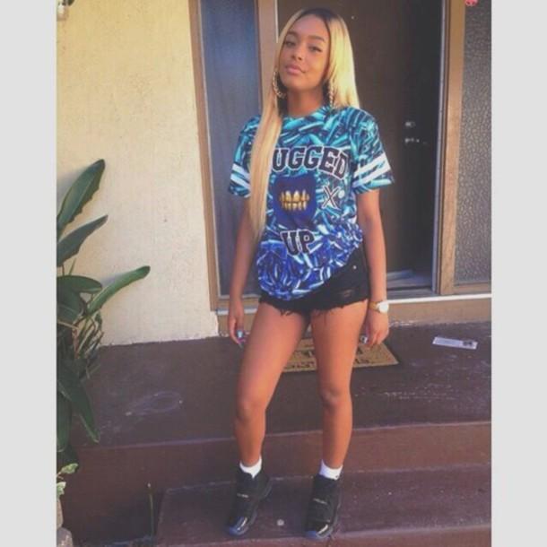 shirt blue shirt jersey thug life