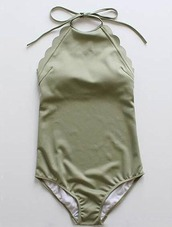 swimwear,girl,girly,girly wishlist,olive green,scalloped,halter neck,one piece swimsuit,one piece,halter neck swimsuit
