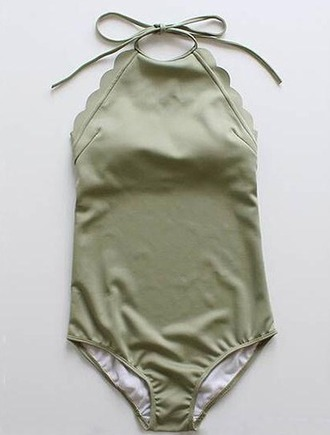 swimwear girl girly girly wishlist olive green scalloped halter neck one piece swimsuit one piece halter neck swimsuit