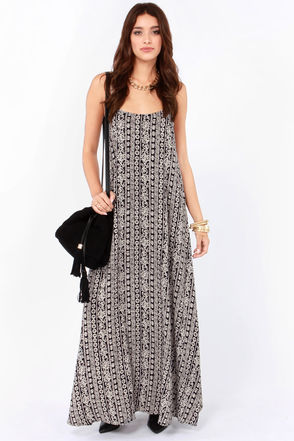 Pretty Print Maxi Dress - Cream and Black Maxi Dress - $47.00