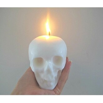 jewels candle skull white fire goth goth hipster halloween decor skull candle