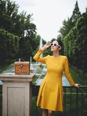dress,tumblr,midi dress,long sleeves,long sleeve dress,yellow,yellow dress,sunglasses,white sunglasses,bag,basket bag