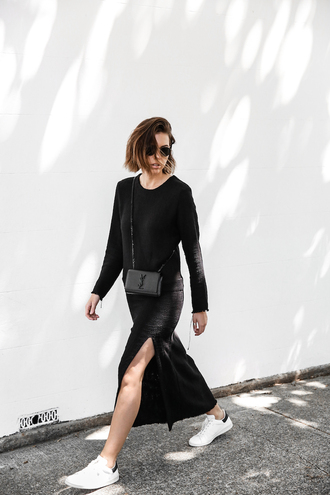 modern legacy blogger sunglasses black dress long sleeve dress yves saint laurent slit dress white sneakers