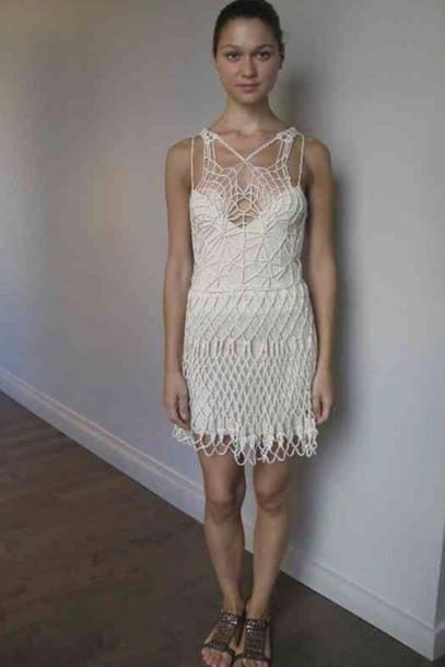 Knitting Pattern Lace Dress : Dress: knit dress, knit mini dress, lace dress, white dress, lwd, white lace ...
