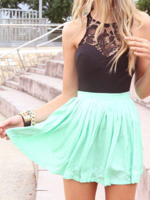 Fashion Sleeveless Black Lace Spliced Mint Green Casual Mini ...