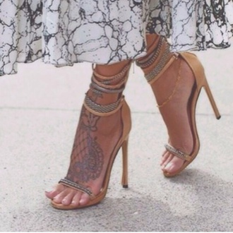 shoes nude gold beige skin coloured olor colorful heels high straps strappy nkle multiple snake print fashion 2015 new style elegant dress skirt bralette top shorts wedges marble ankle bracelet jewelry tattoo