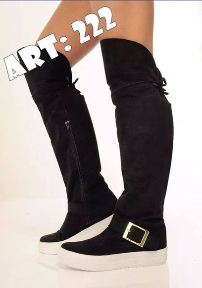 shoes black knee high boots