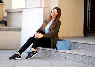 only my fashion style blogger shoes blouse jeans bag coat sneakers blue bag army green jacket spring outfits