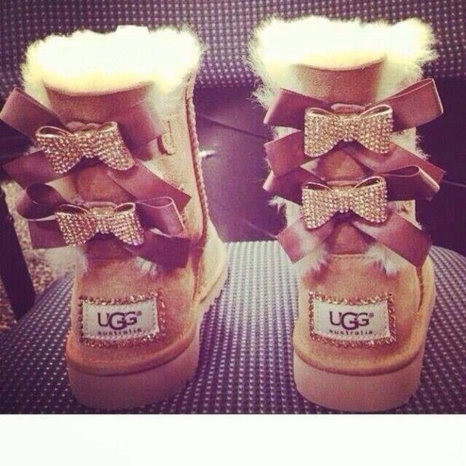 uggs boots bailey bow brown uggs rhinestones bailey bow bows uggs. Black Bedroom Furniture Sets. Home Design Ideas