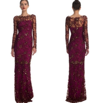 dress magenta lace prom long sleeves