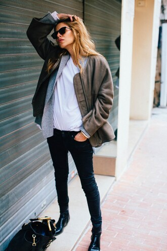 jeans tumblr grey jacket white top black jeans black boots boots black sunglasses fall jacket fall outfits army green jacket casual