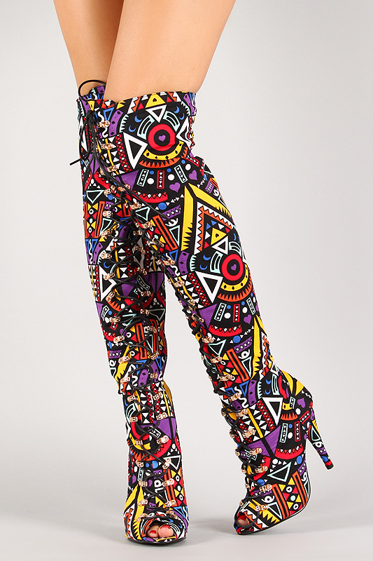 Multi Colored Thigh High Boots Bsrjc Boots