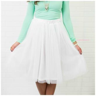 skirt white tulle skirt knee length amazinglace.com
