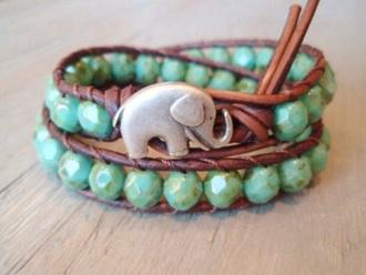 jewels green elephant blue-green bracelet chains
