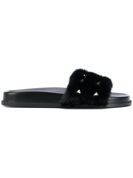 Valentino fur fox women leather black shoes