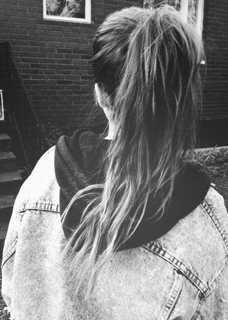 jacket clothes denim denim jacket with hood love tumblr hoodie denim jacket wolf-raw-r ponytail girl blonde hair soft grunge fabric gray hoodie