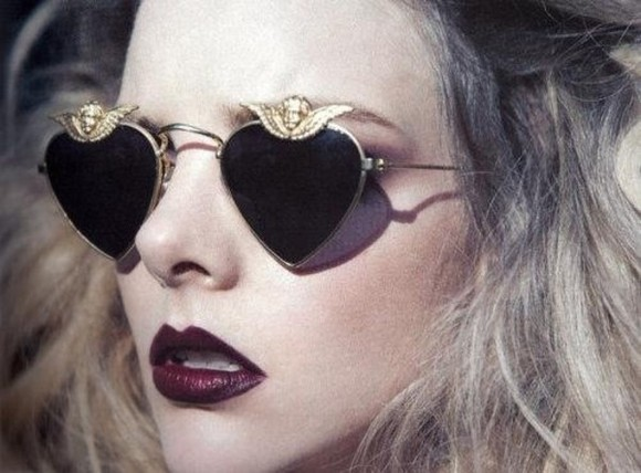festival cute sunglasses sunnies grunge 90's gold tumblr tinted lipstick red soft grunge fashion