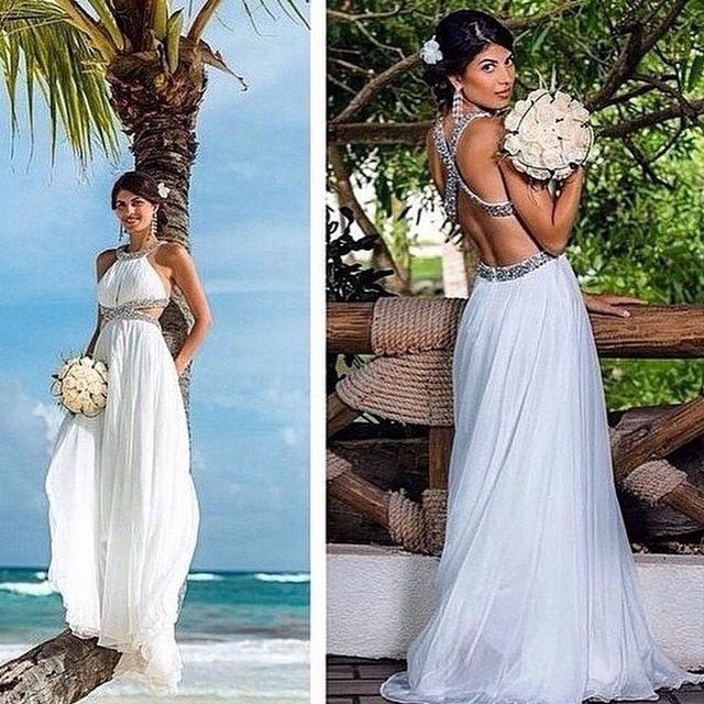91a1b6bb21f91 Aliexpress.com : Buy Cheap Vestidos De Noche Criss Cross Back Beaded Cut  Out Sexy Vestidos De Festa 2015 White Chiffon Prom Dresses Evening Dress  from ...
