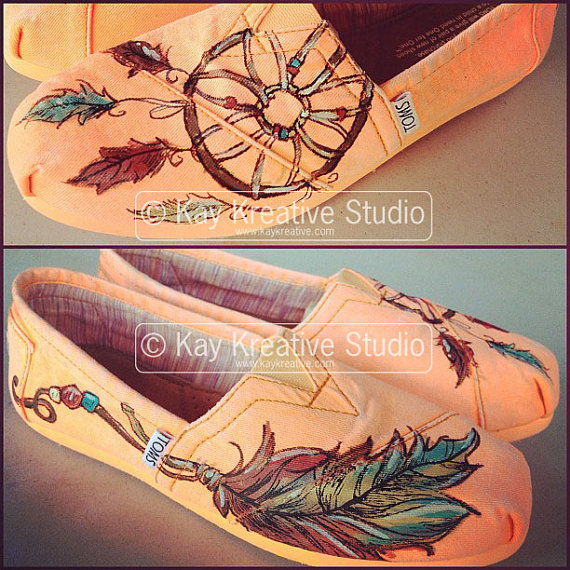 Sweet dreams' dreamcatcher toms shoe by kaykreativestudio on etsy