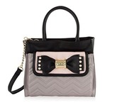 bag,bow,betsey johnson,tote bag,pouch,pink and black,crossbody bag,casual purse