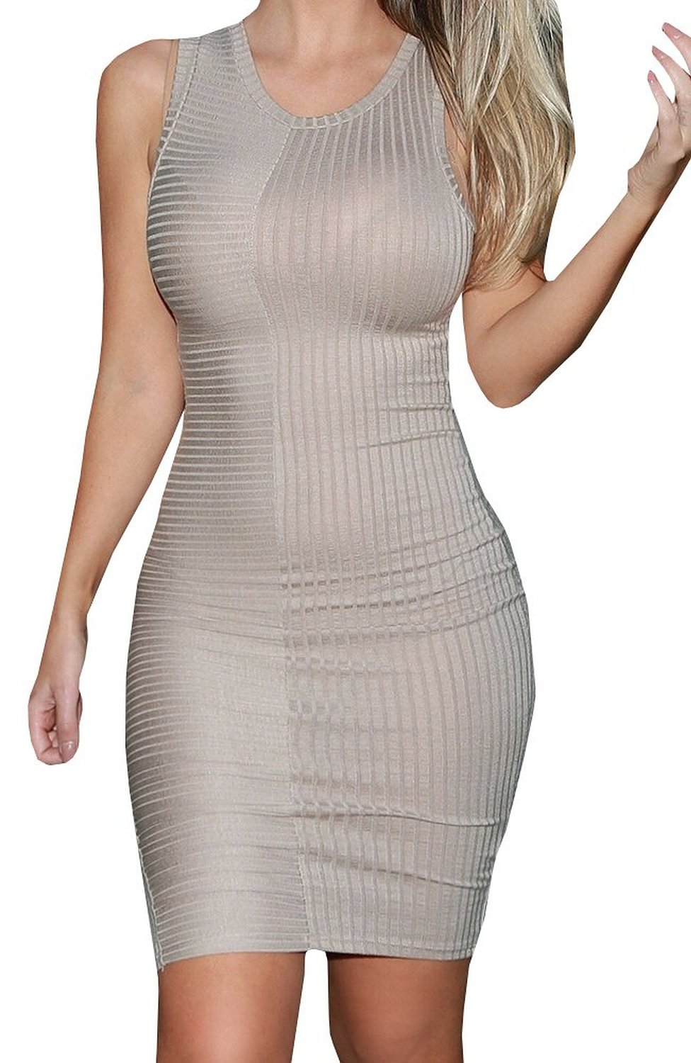 Women's Sexy Tight Pullover Ribbed Fine Sweater Tank Dress: Amazon ...