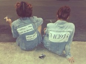 jacket,the 1975,grunge,denim jacket,denim,quote on it,jeans,blue,acid wash jeans,fitness quotes
