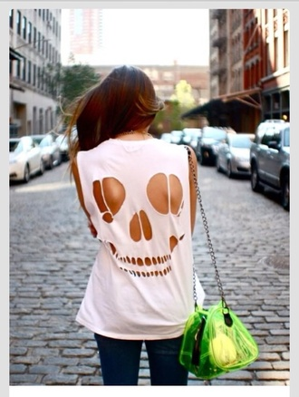 skull cut-out white t-shirt skull t-shirt