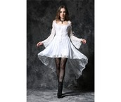 dress,lace,white,goth,buttons,button up,high low,high low dress,high-low dresses,white lace,white lace dress,gothic dress,goth lace dress,lace dress,white dress,black,black tights,shoes,gothic lolita