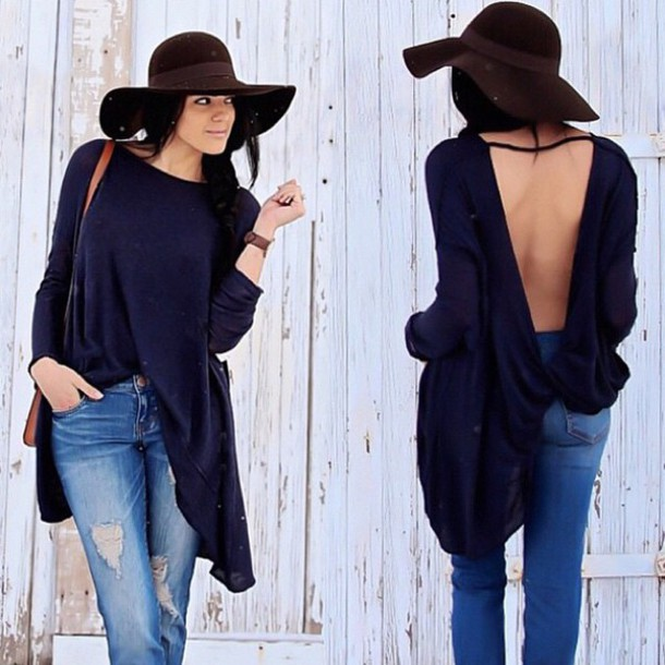 blouse shirt open back top black top long sleeves top