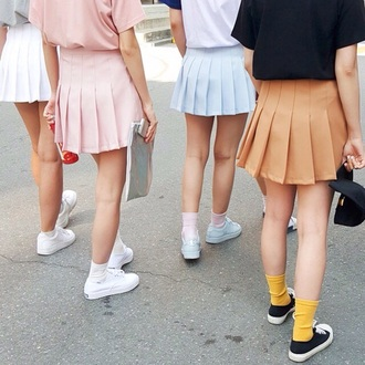 skirt pleated pink blue light blue black mustard yellow school girl