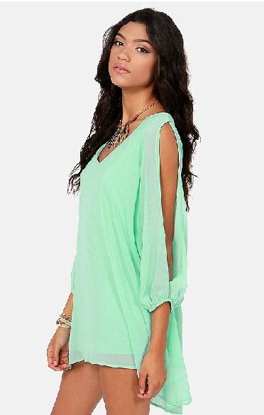 Open sleeve women dress chiffon dress ha668 for sale