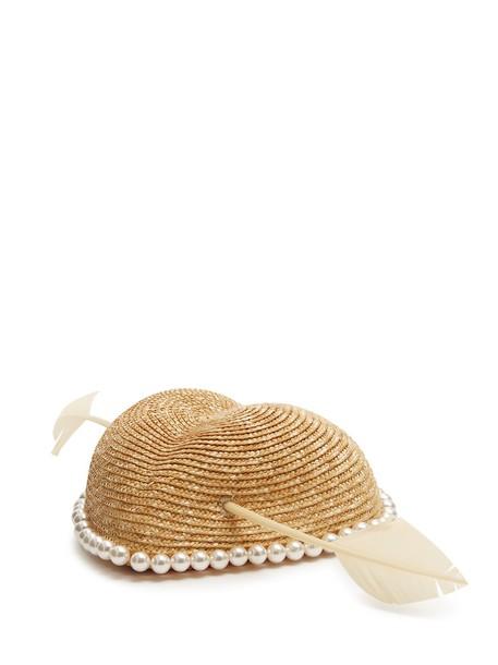 gucci heart hat straw hat beige