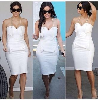 dress white dress kim kardashian bodycon pearl help plz cute dress