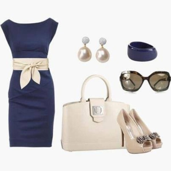 dress blue bag jewels jewelry earrings shoes blue dress navy pencil dress navy blue dress cream bag shoes navy beige cream heels purse belt tan belt and navy dress