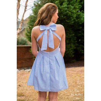 dress seersucker stripes blue white bow bowback