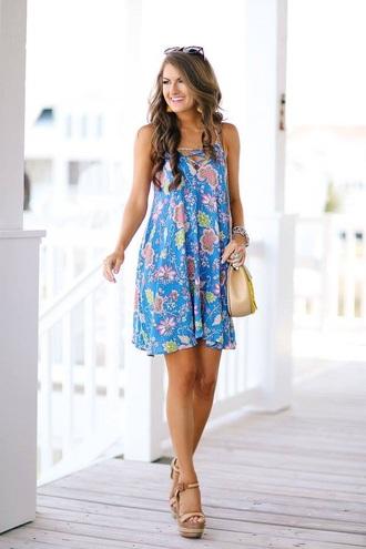 dress leaf print summer dress mini dress blue dress