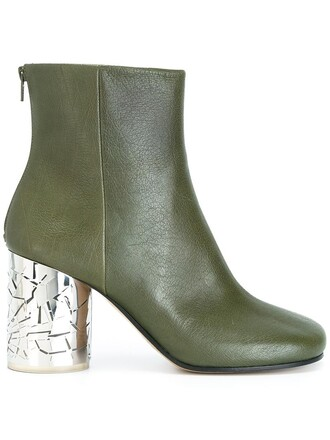women boots ankle boots leather green shoes