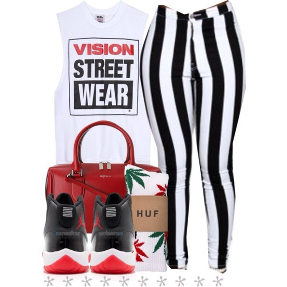 pants alexander mcqueen shoes bag black and white sweatshirt retro jordans sweater