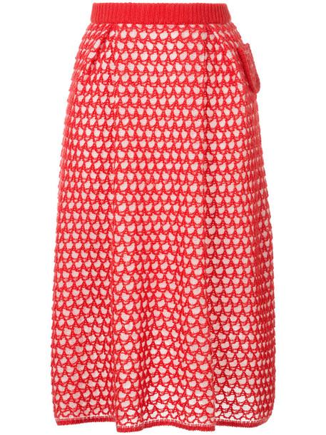 Writtenafterwards - knitted midi skirt - women - Acrylic/Nylon/Mohair/Wool - 11, Red, Acrylic/Nylon/Mohair/Wool