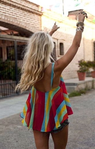 blouse top clothes shirt colorful patterns girly colorful loose shirt stripes tank top summer top cute blonde hair pink lovely pepa chic adorable blouse flowy sheer low back backless summer summer outfits multi color tank top